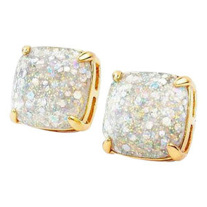 KATE SPADE 12K Opal Galaxy Glitter Square Earrings